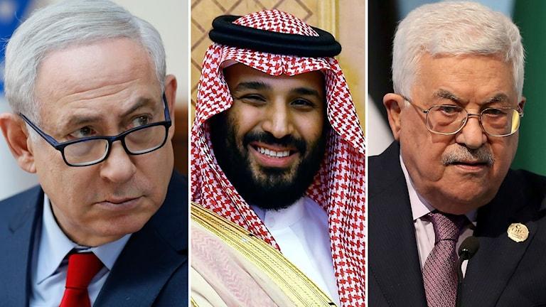 Benjamin Netanyahu, Mohamed bin Salman och Mahmoud Abbas.
