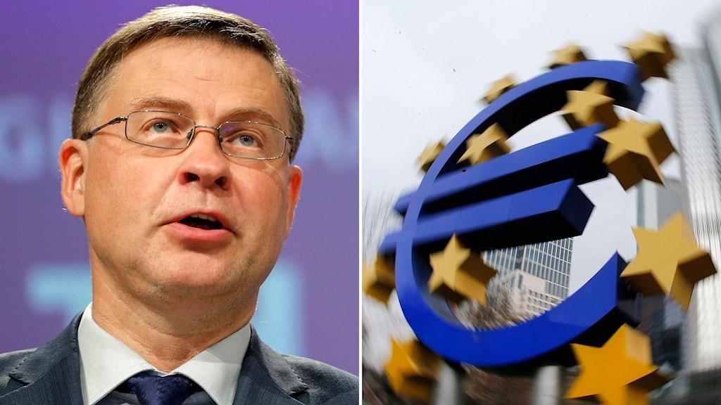 EU:s handelskomssionär Valdis Dombrovkis och en euro-staty.