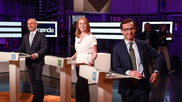 Björklund, Lööf och Kristersson i SVT:s agenda