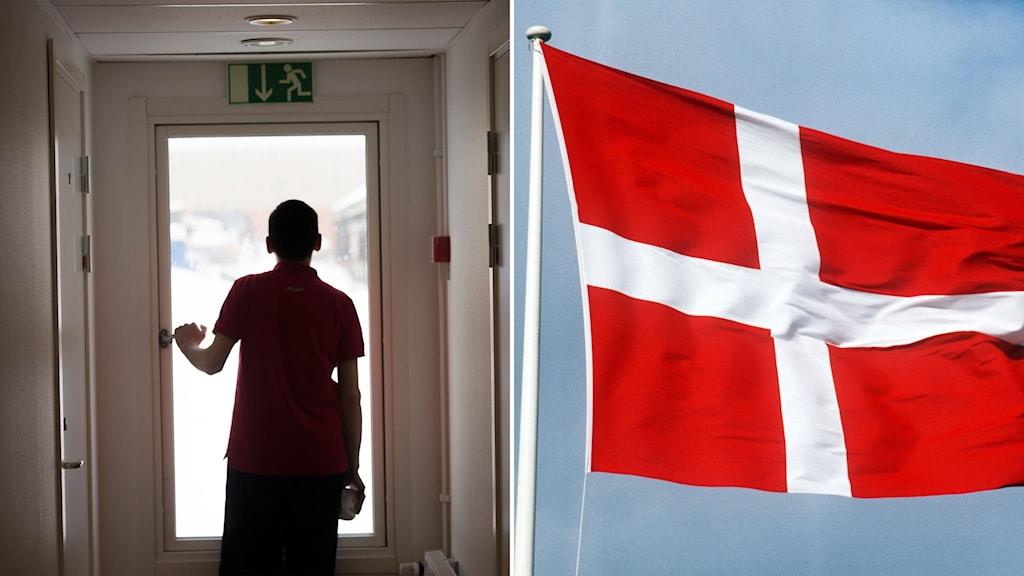 Asylboende och dansk flagga.