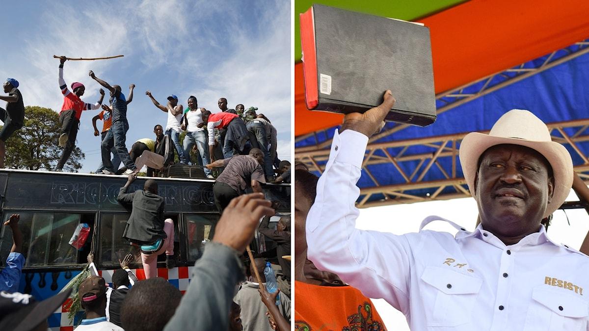 Supportrar kommer med buss till den ceremoni där Odinga ska sväras in som alternativ president.