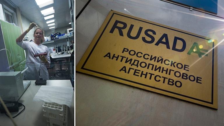 Kollage med en anställd på ett laboratorium och en bild på skylten till ryska anti-dopningsmyndigheten Rusada.