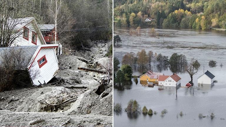 Delad bild: Jordskred vid ett hus och en översvämmad gård i en dalgång