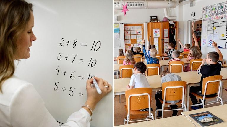 Person som skriver på tavla och barn i klassrum.