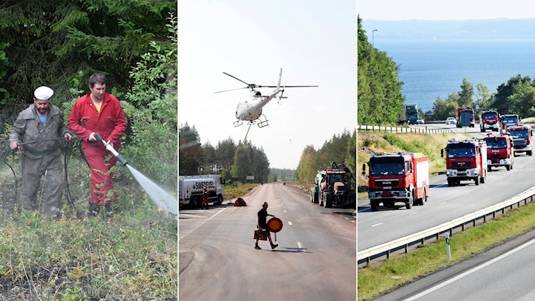 Tredelad bild: Personer som sprutar vatten i en skog, en helikopter och en konvoj med brandbilar.