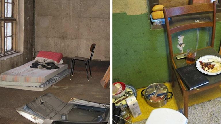 Tunn madrass på golv och matrester på stol i rummen där tiggarna bott.
