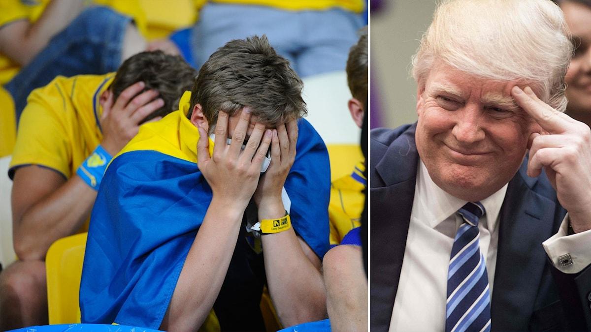 Delad bild: man med sverigeflagga över axlarna döljer huvudet i händerna, en leende Donald Trump.