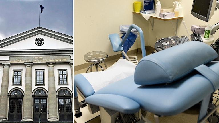Landstingshuset i Stockholm och en gynekologstol