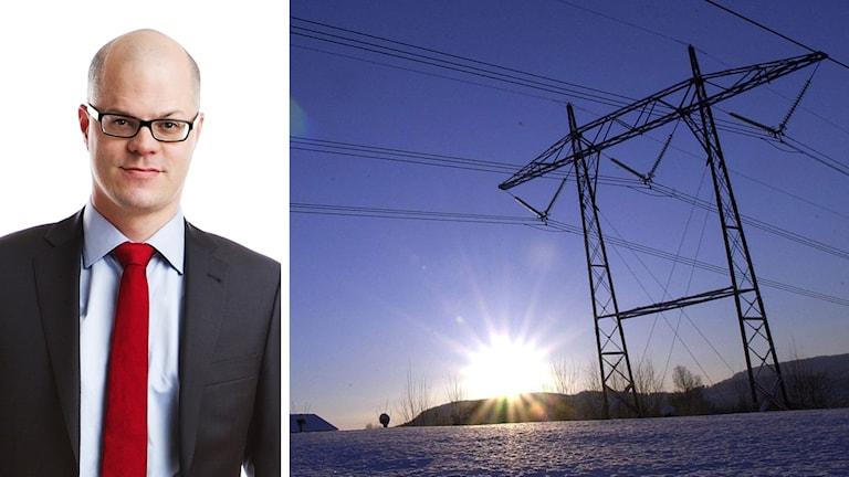 Bildkollage med Villaägarnas samhällspolitiske chef Jakob Eliasson och elledningar.