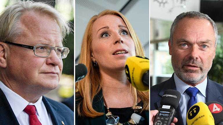 Peter Hultqvist, Annie Lööf och Jan Björklund.