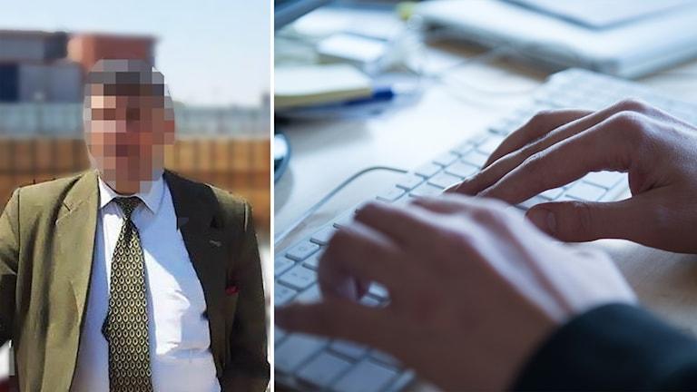 Delad bild: Man med pixlat ansikte, fingrar på ett tangentbord.
