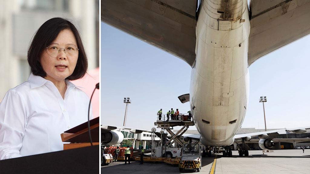 Taiwans president Tsai Ing-wen och ett lastflygplan som lastas.