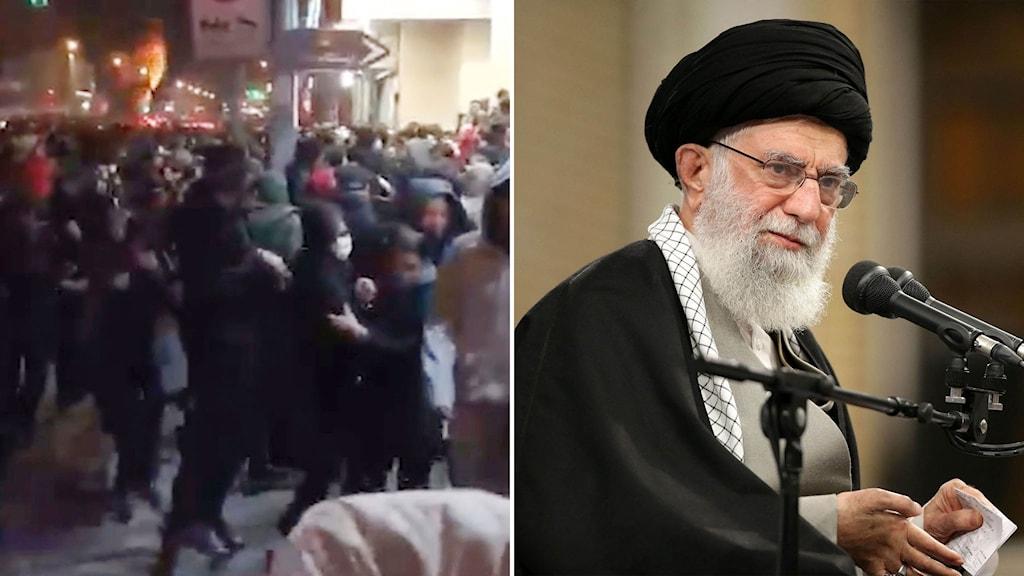 Till vänster: Demonstrationer vid Azaditorget. Till höger: Ayatollah Khamenei.