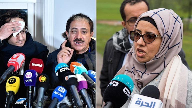 Abdul Malik al-Hajry och Abdul Majid Hanash, representanter för Huthirebellerna och ana Ghanem från Jemens regering uttalar sig under Jemenförhandlingarna.
