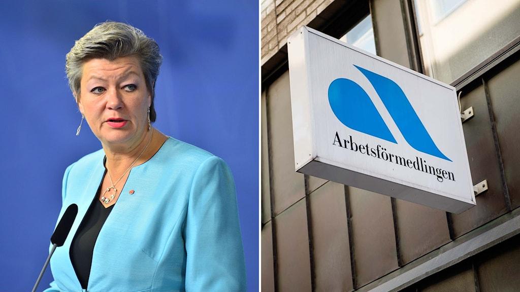Ylva Johansson och en Arbetsförmedlingen-skylt.