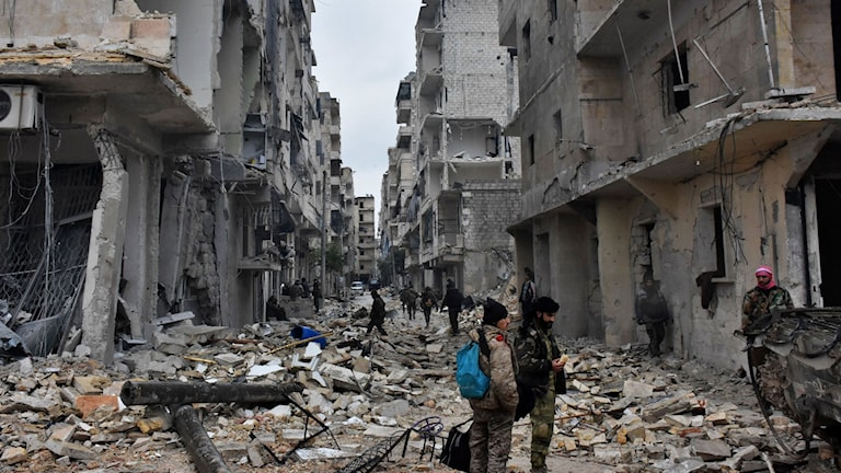 Ruiner i Aleppo, bilden tagen den 14 december.