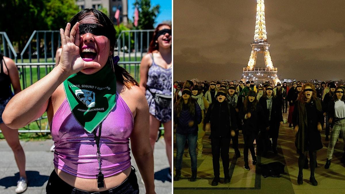 Utanför presidentpalatset La Moneda i Santiago manifesterar kvinnor mot det sexuella våld som förekommit under de senaste veckornas protester i Chile (t.v). Manifestationerna spred sig även till andra städer, däribland Paris (t.h).