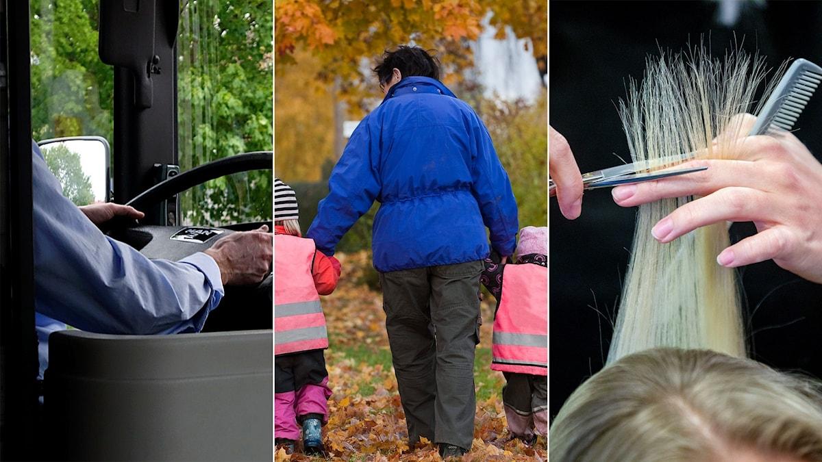 Busschaufför, barnomsorgspersonal och frisör