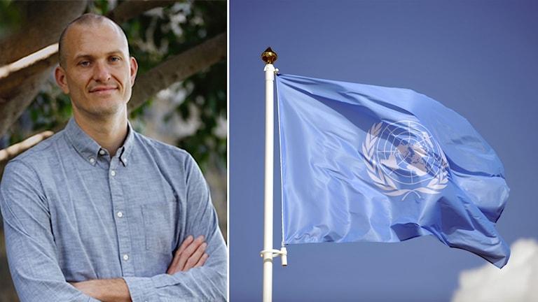 Delad bild: man med skjorta och en FN-flagga.