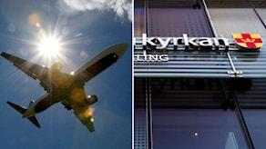 Flygplan och Svenska kyrkans logotyp