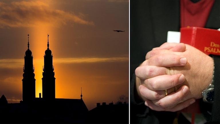 Delad bild: Kyrka i motljus och präst med knäppta händer
