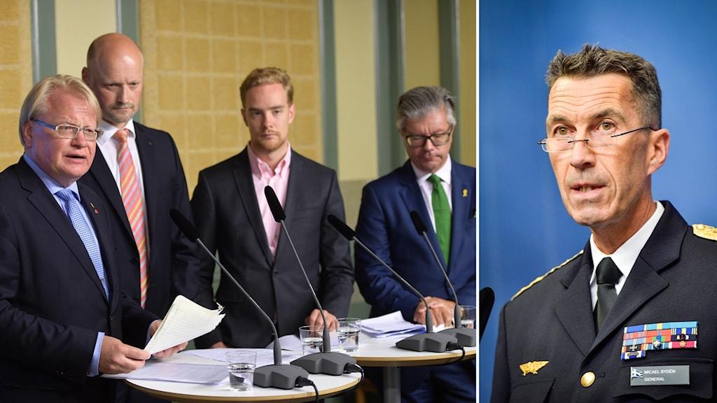Bildkollage med män på en presskonferens och en annan man på en presskonferens