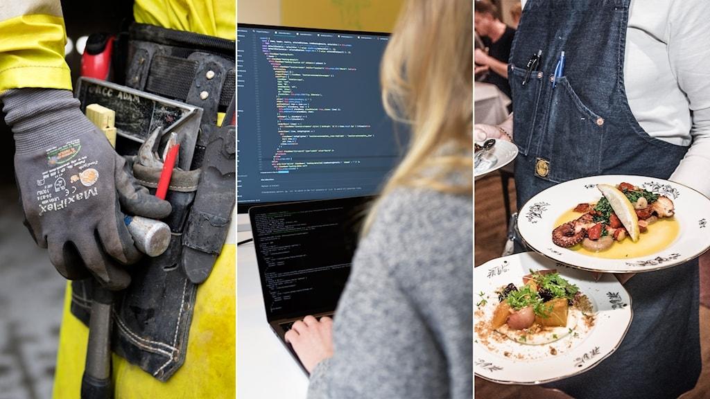 En snickare, en programmerare och en servitör.