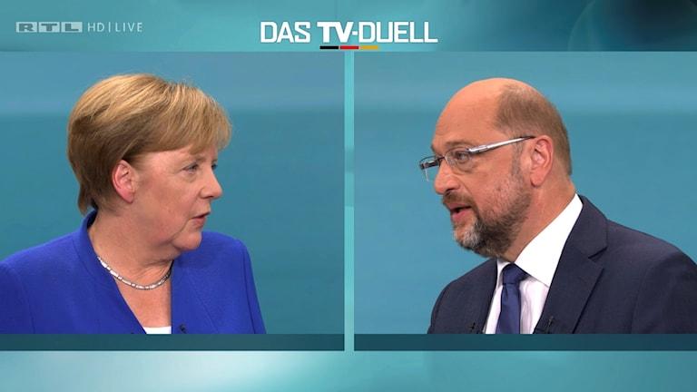 Angela Merkel och Martin Schulz i tv-duell inför det tyska valet 2017