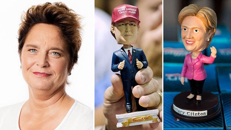 Agneta Furvik i montage med två dockor föreställande Donald Trump och Hillary Clinton