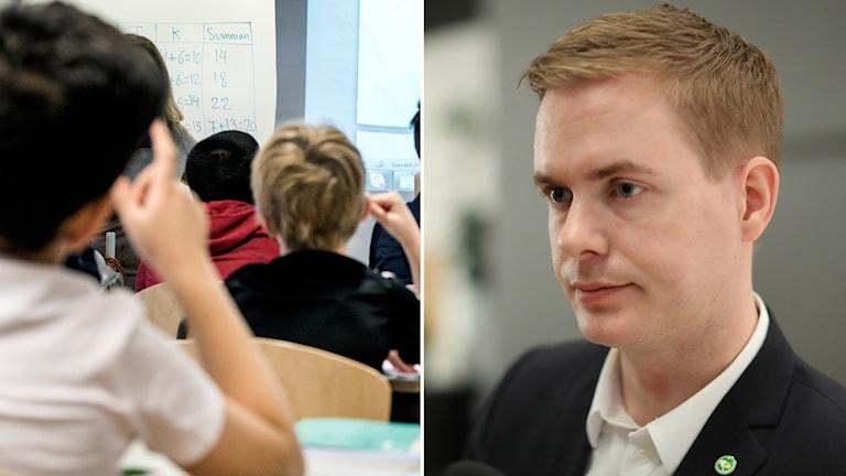 Mixbild: Först på elever i ett klassrum och en bild på utbildningsminister Gustav Fridolin (MP).
