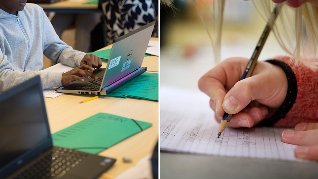 elever med dator och penna.