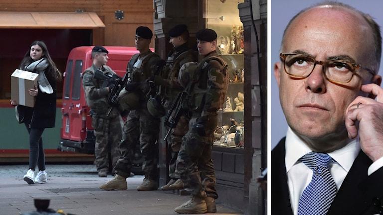Fransk militär patrullerar förberedelserna till julmarknaden i Strasbourg.