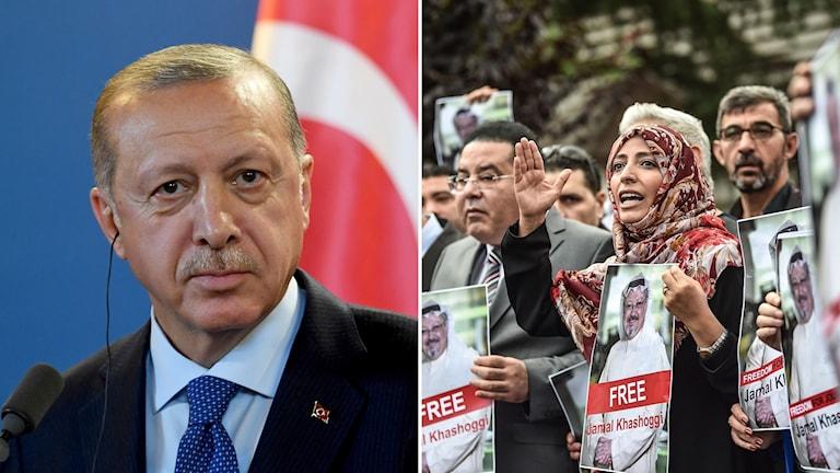 Turkiets president Reccep Tayyip Erdogan till vänster och demonstration utanför det saudiska konsulatet i Istanbul till höger.