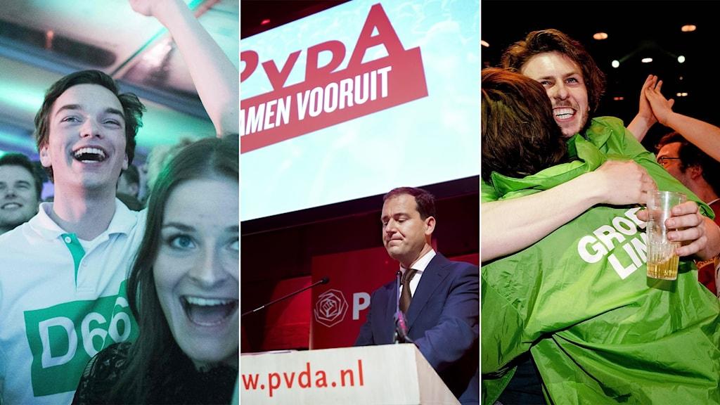 D66, socialdemokraterna och vänstergröna partiet.
