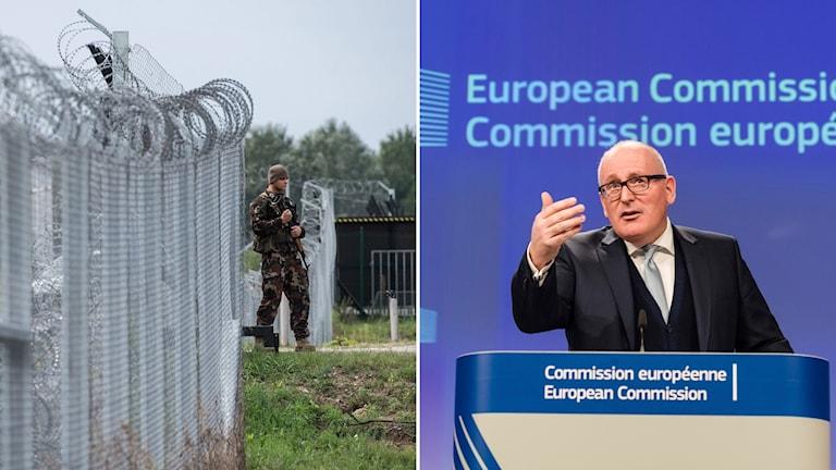 Soldat vaktar gräns med staket och Frans Timmermans, förste vice ordförande för EU-kommissionen.