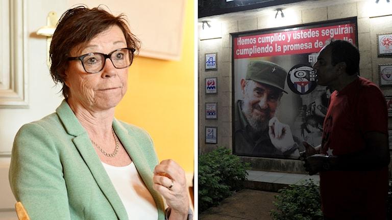Kollage med en bild på Annika Söder, kabinettsekreterare, och en bild på en man som står framför en plansch med Fidel Castro.