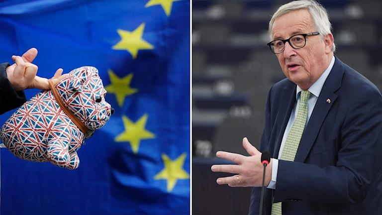 En leksakshund med den brittiska flaggan framför en EU-flagga och man som sträcker handen mot hunden.