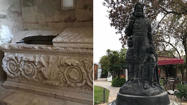 Delad bild: Sankt Nikolauskyrkan, Demre, staty över Sankt Nikolaus.