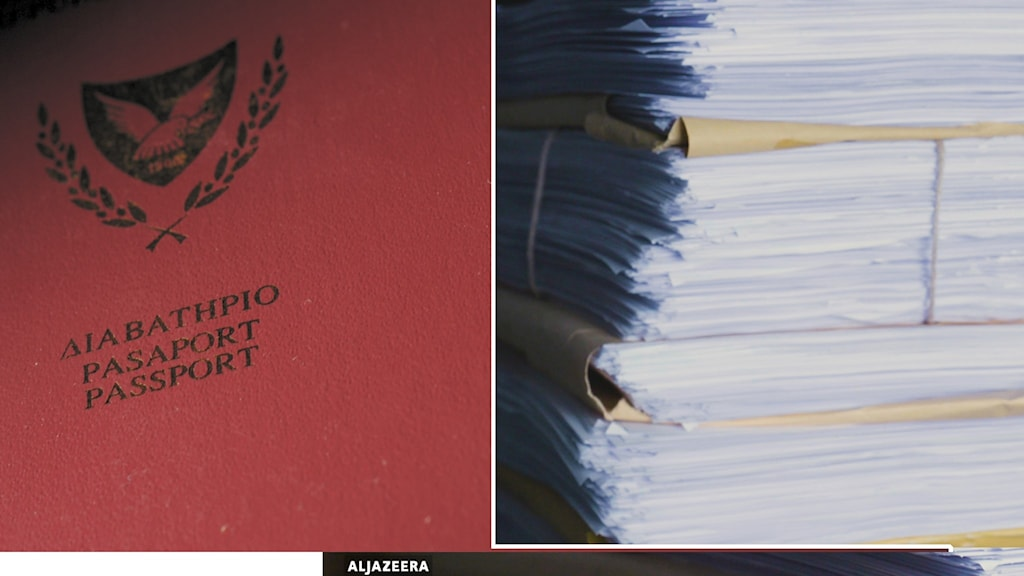 Montage på cypriotiskt pass och trave med dokument.