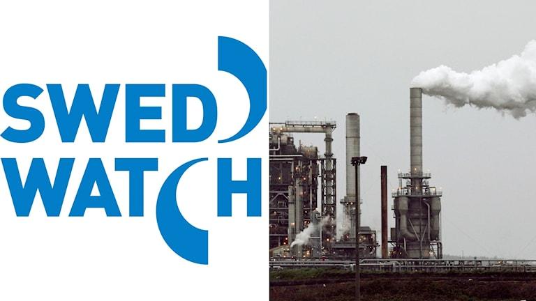 Swedwatch logotype och utsläpp från fabrik.