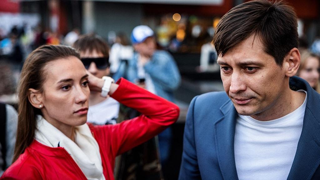 Dmitrij Gudkov och hans fru Valeria.