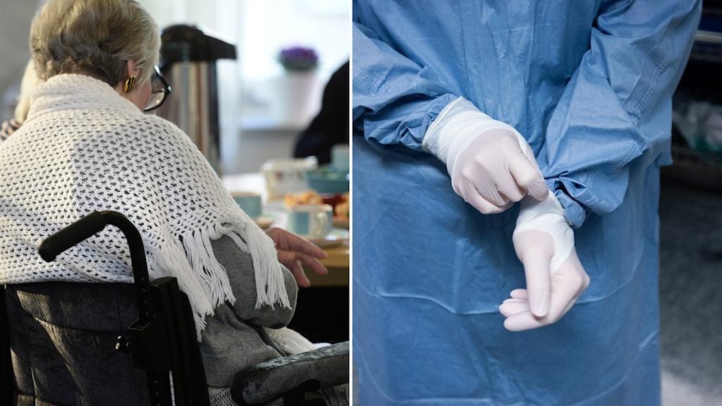 Montage på en äldre kvinna i rullstol och en person med skyddsutrustning på sig.