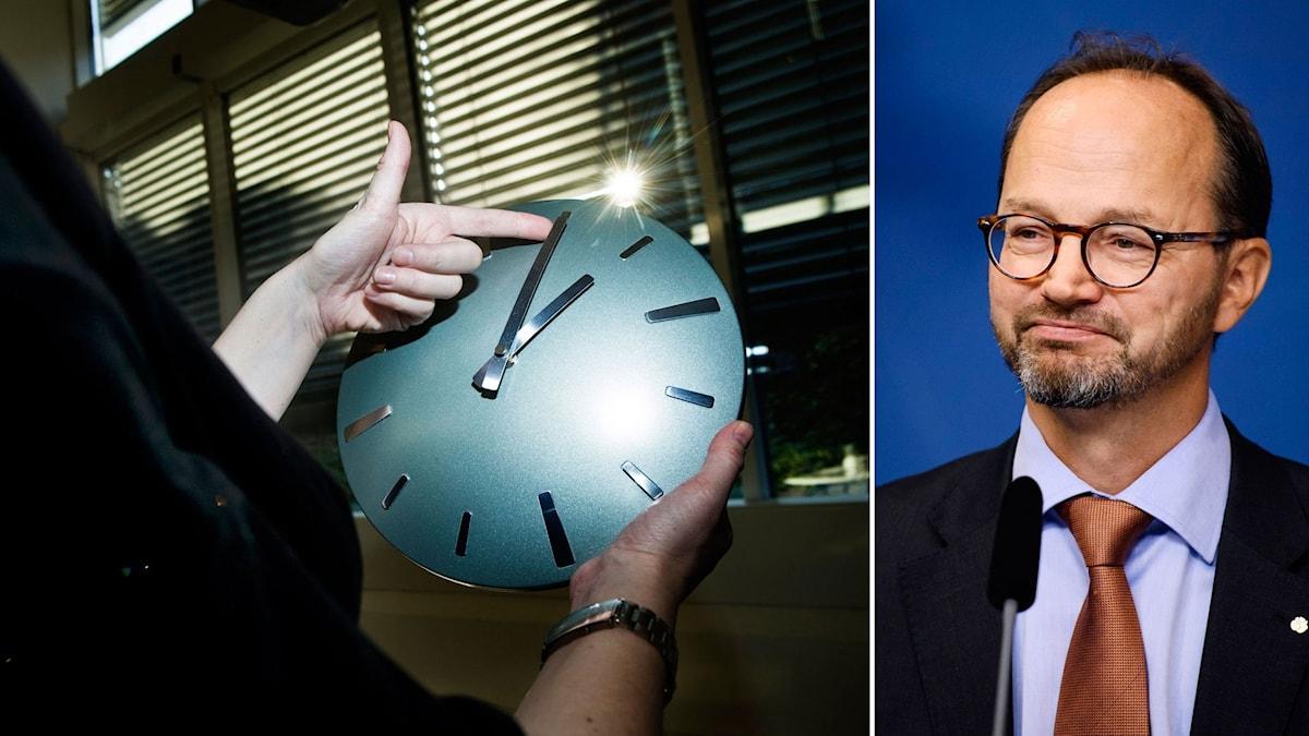 Klocka vrids framåt för att ställa om tiden. Till höger infrastrukturminister Thomas Eneroth.
