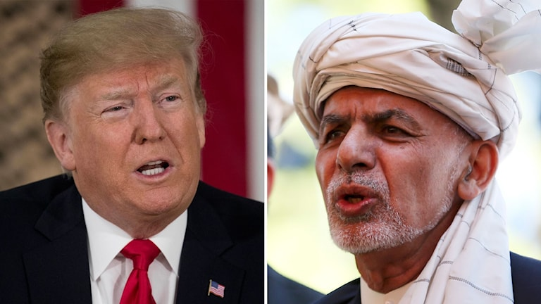 Amerikanske presidenten Donald Trump och Afghanistans president Ashraf Ghani i delad bild.