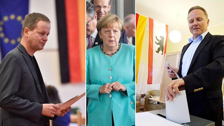 Tredelad bild: Två män som ska lägga sina röster på varsin sida om Angela Merkel.