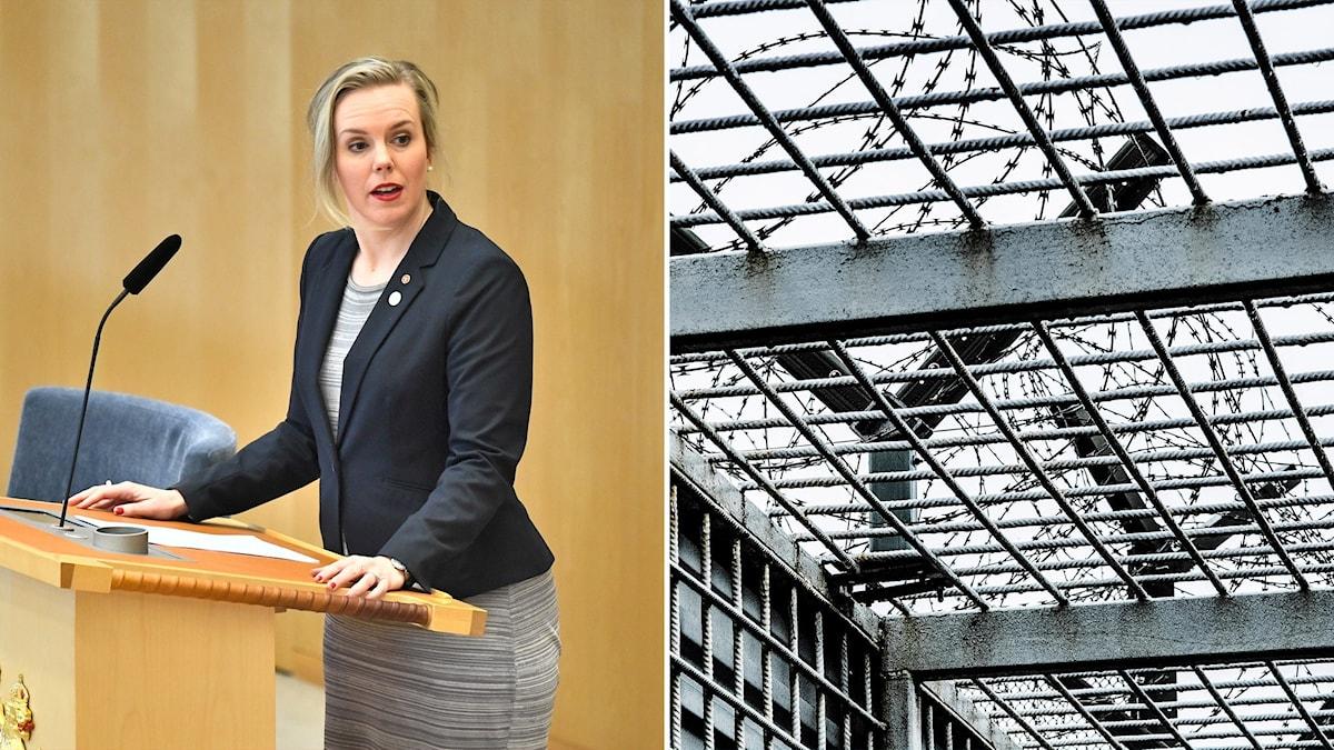 Tvådelad bild: Kvinna vid podium och taggtråd bakom galler.