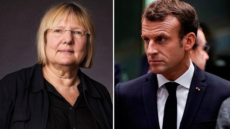 Ekots EU-kommentator Susanne Palme och Frankrikes president Emmanuel Macron