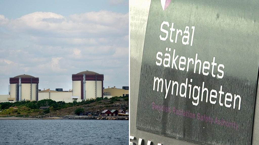 Ringhals kärnkraftsverk och en skylt på Strålsäkerhetsmyndigheten.