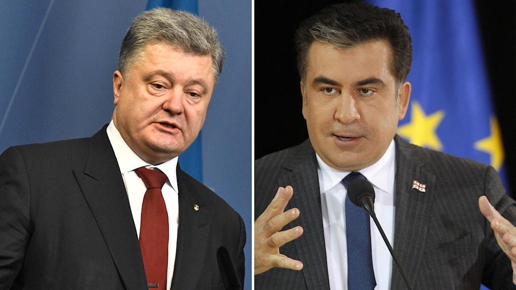 Arkivbild. Petro Porosjenko och Micheil Saakasjvili