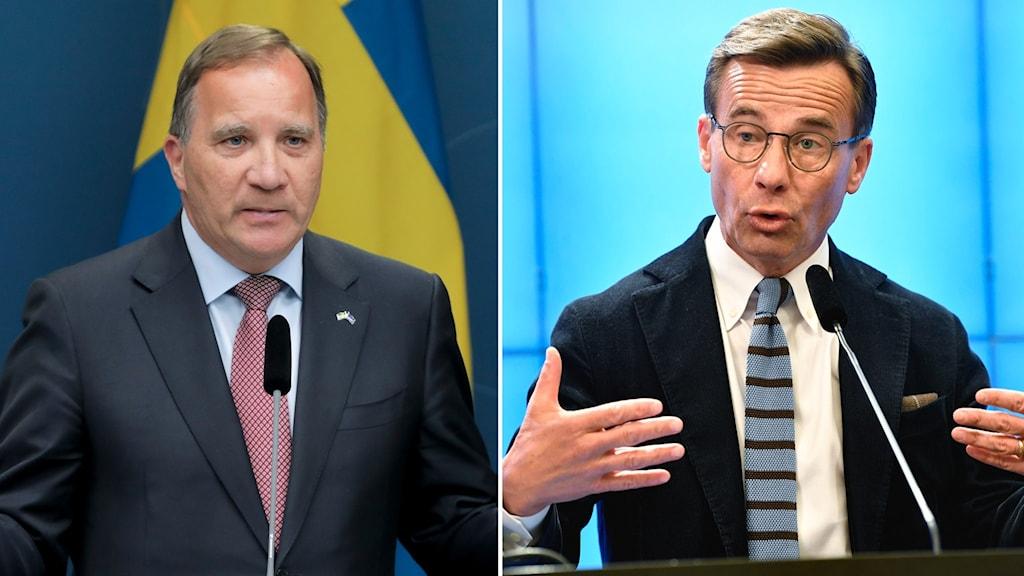 Statsminister Stefan Löfven (S) och Moderaternas partiledare Ulf Kristersson.